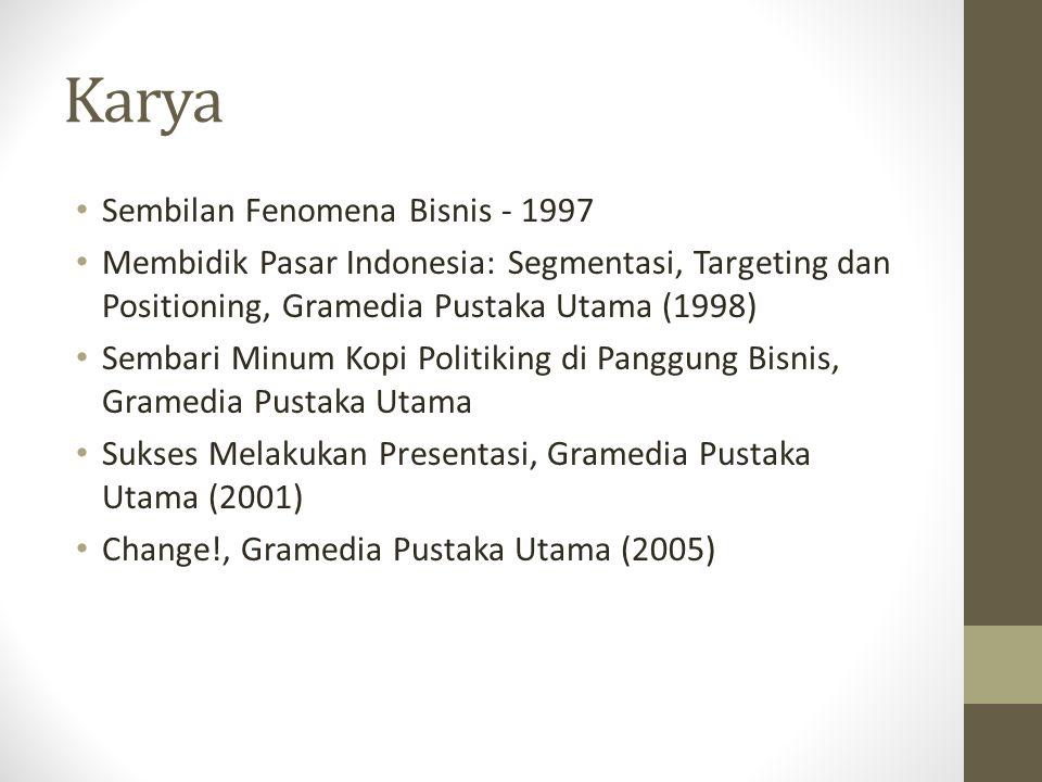 Karya Sembilan Fenomena Bisnis - 1997 Membidik Pasar Indonesia: Segmentasi, Targeting dan Positioning, Gramedia Pustaka Utama (1998) Sembari Minum Kop