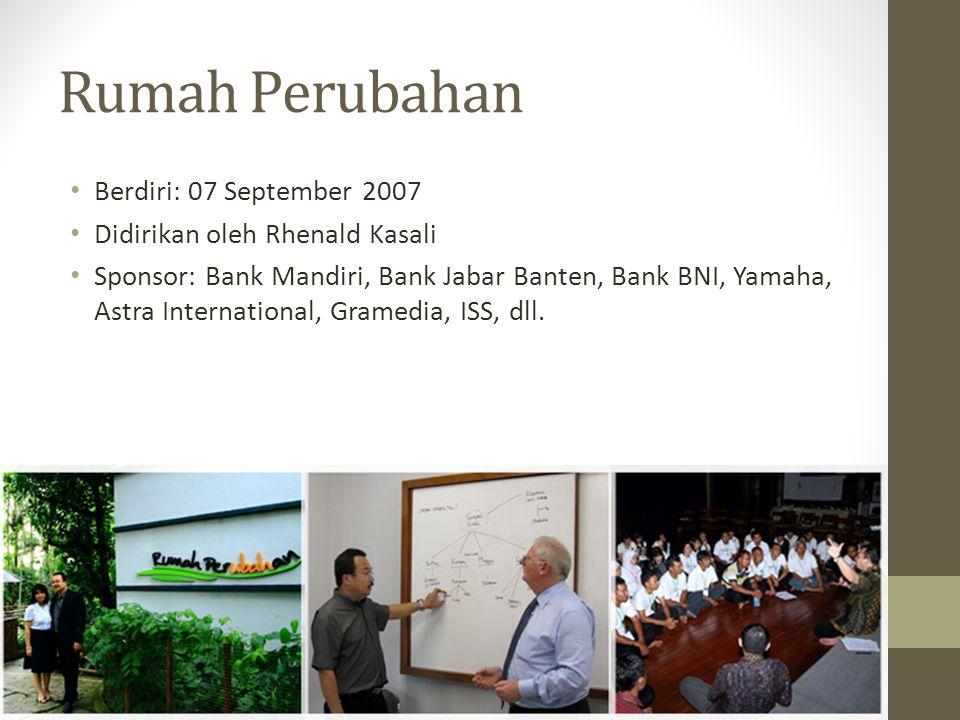 Rumah Perubahan Berdiri: 07 September 2007 Didirikan oleh Rhenald Kasali Sponsor: Bank Mandiri, Bank Jabar Banten, Bank BNI, Yamaha, Astra Internation