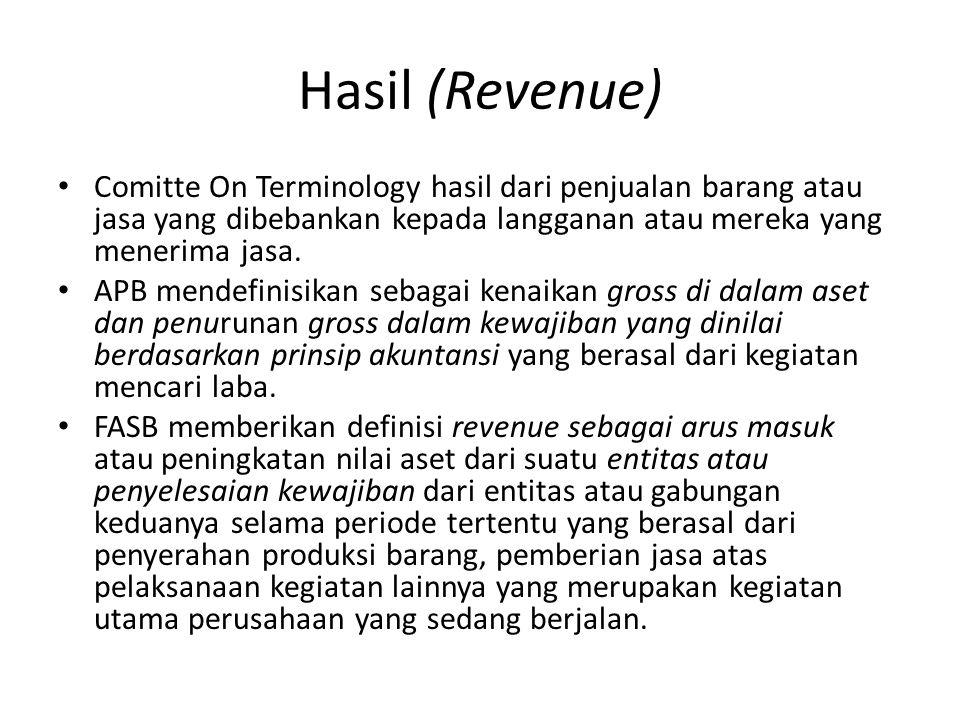 Hasil (Revenue) Comitte On Terminology hasil dari penjualan barang atau jasa yang dibebankan kepada langganan atau mereka yang menerima jasa. APB mend
