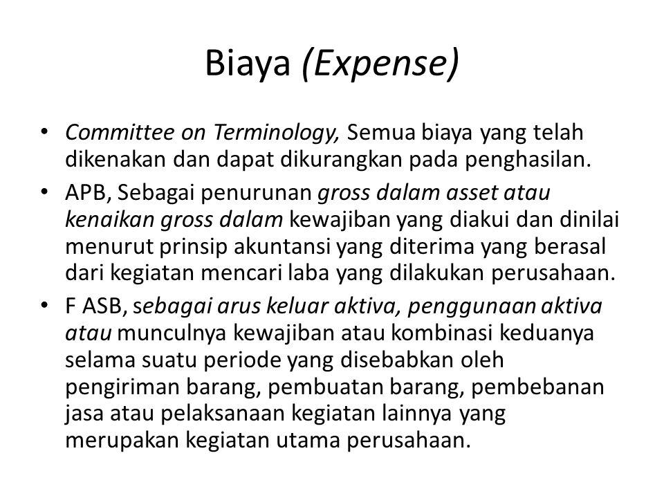 Biaya (Expense) Committee on Terminology, Semua biaya yang telah dikenakan dan dapat dikurangkan pada penghasilan. APB, Sebagai penurunan gross dalam