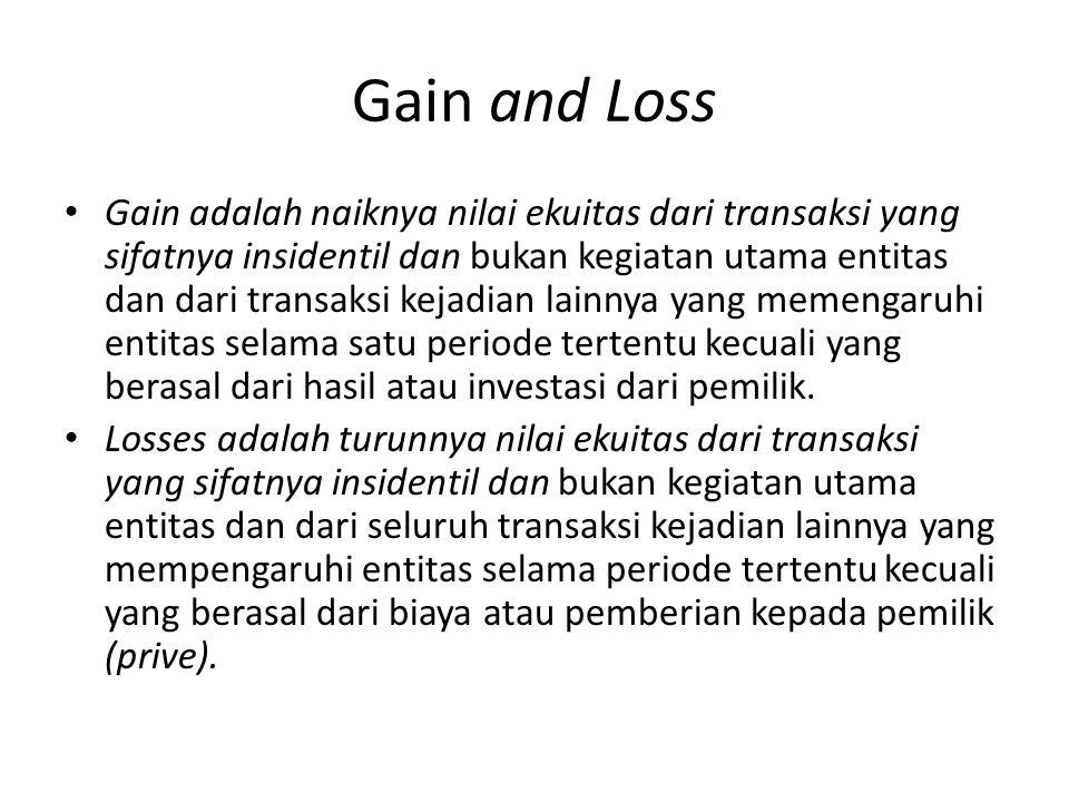 Gain and Loss Gain adalah naiknya nilai ekuitas dari transaksi yang sifatnya insidentil dan bukan kegiatan utama entitas dan dari transaksi kejadian l