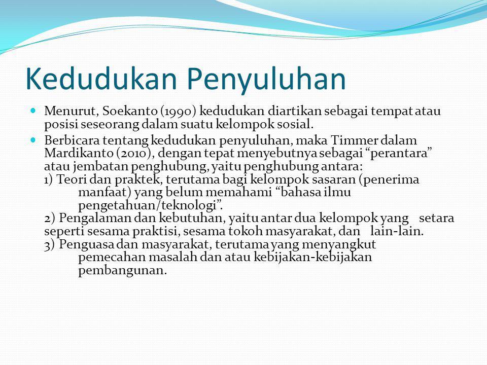 Kedudukan Penyuluhan Menurut, Soekanto (1990) kedudukan diartikan sebagai tempat atau posisi seseorang dalam suatu kelompok sosial. Berbicara tentang