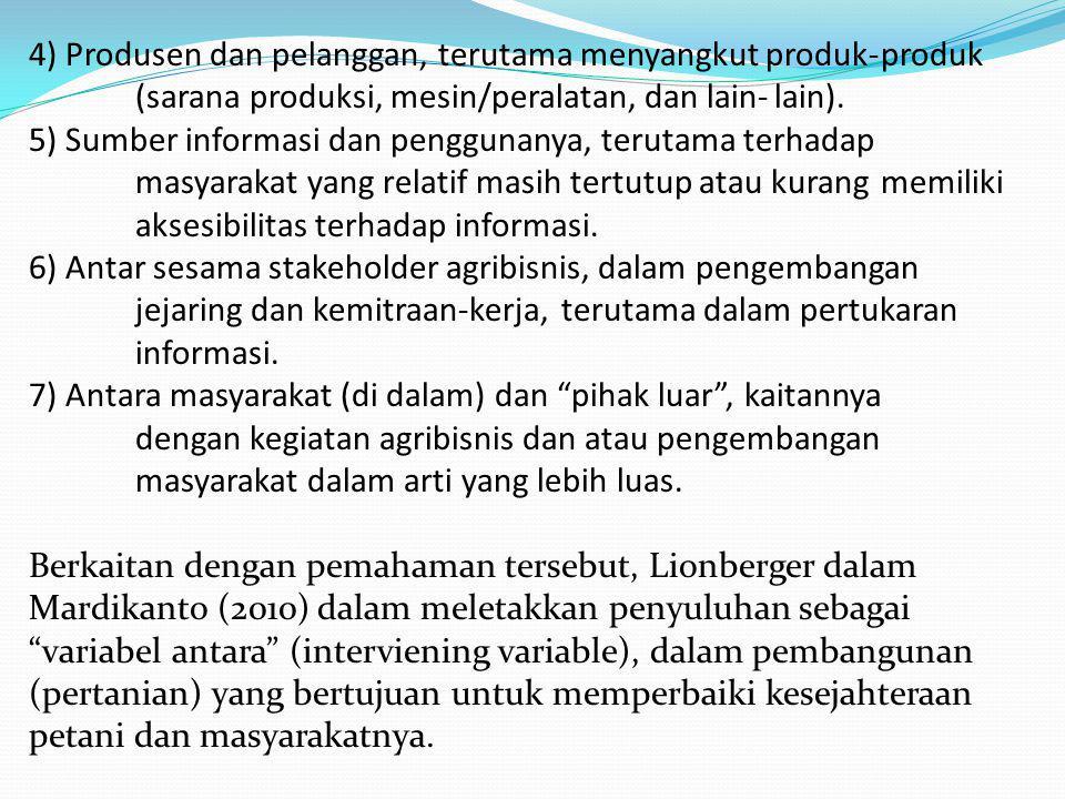 4) Produsen dan pelanggan, terutama menyangkut produk-produk (sarana produksi, mesin/peralatan, dan lain-lain). 5) Sumber informasi dan penggunanya, t