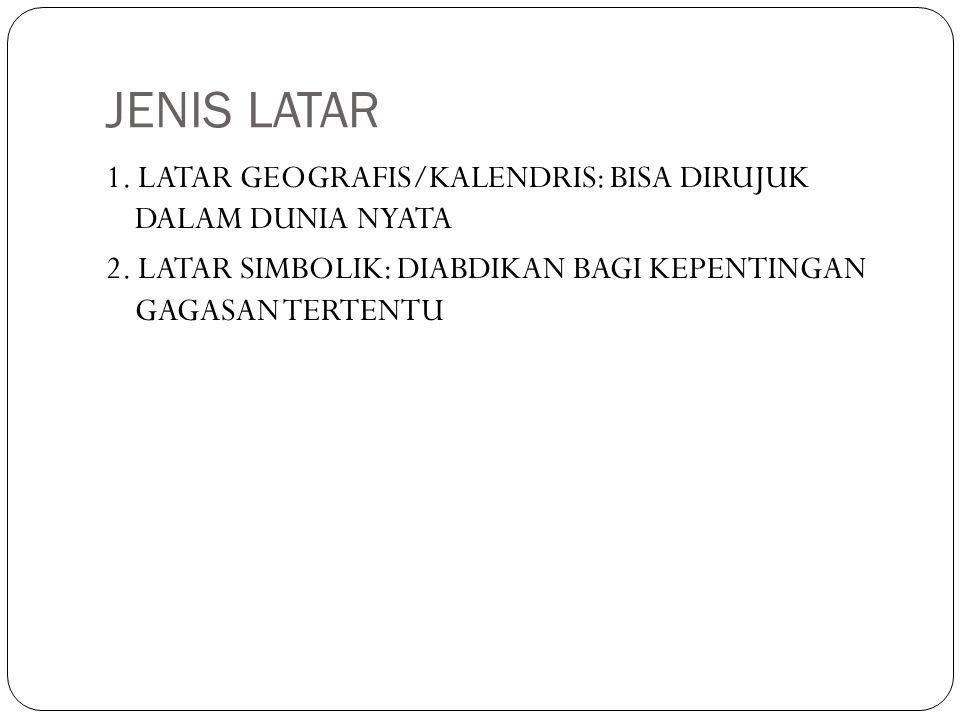 JENIS LATAR 1. LATAR GEOGRAFIS/KALENDRIS: BISA DIRUJUK DALAM DUNIA NYATA 2. LATAR SIMBOLIK: DIABDIKAN BAGI KEPENTINGAN GAGASAN TERTENTU