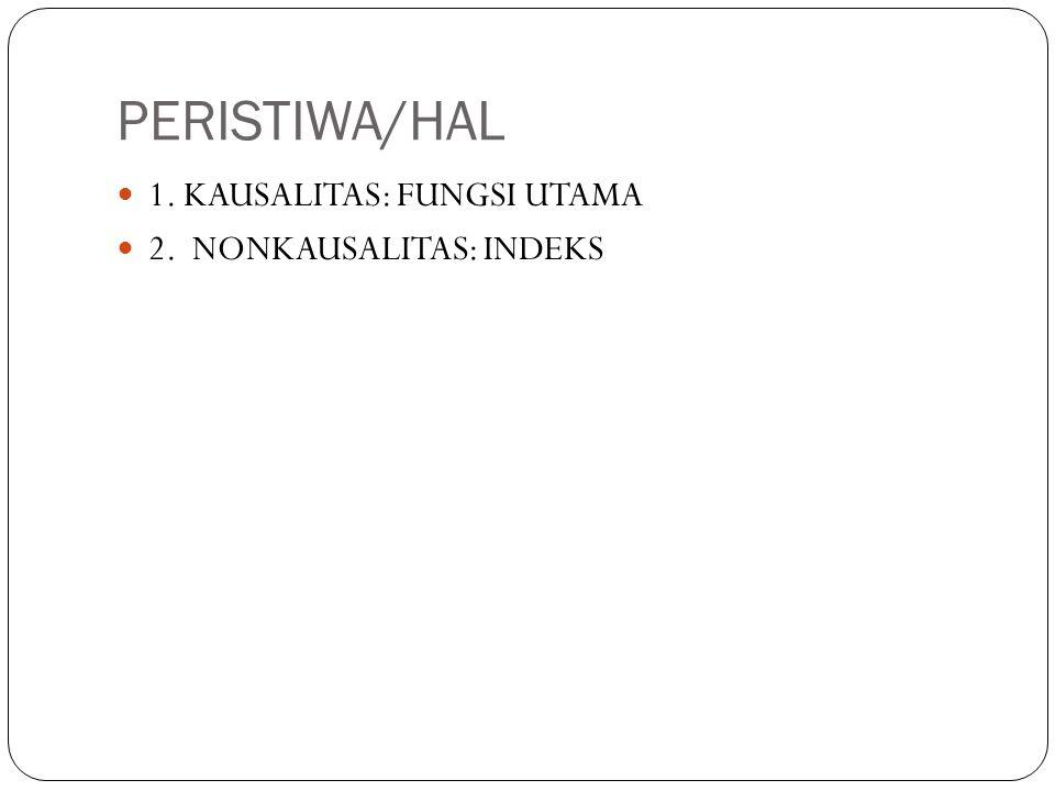 PERISTIWA/HAL 1. KAUSALITAS: FUNGSI UTAMA 2. NONKAUSALITAS: INDEKS