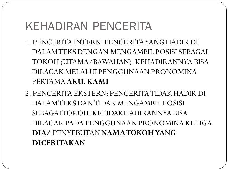 KEHADIRAN PENCERITA 1. PENCERITA INTERN: PENCERITA YANG HADIR DI DALAM TEKS DENGAN MENGAMBIL POSISI SEBAGAI TOKOH (UTAMA/BAWAHAN). KEHADIRANNYA BISA D