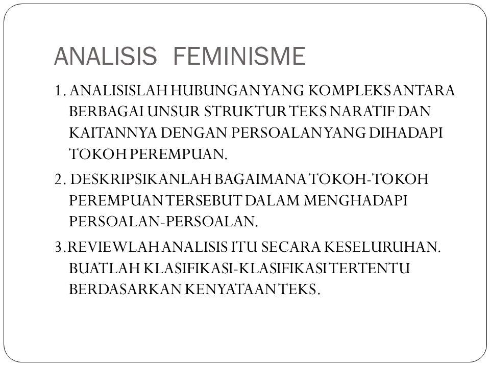 ANALISIS FEMINISME 1. ANALISISLAH HUBUNGAN YANG KOMPLEKS ANTARA BERBAGAI UNSUR STRUKTUR TEKS NARATIF DAN KAITANNYA DENGAN PERSOALAN YANG DIHADAPI TOKO