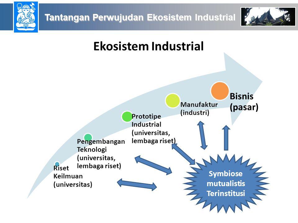 Ekosistem Industrial Riset Keilmuan (universitas) Pengembangan Teknologi (universitas, lembaga riset) Prototipe Industrial (universitas, lembaga riset) Manufaktur (industri) Bisnis (pasar) Symbiose mutualistis Terinstitusi Tantangan Perwujudan Ekosistem Industrial Tantangan Perwujudan Ekosistem Industrial
