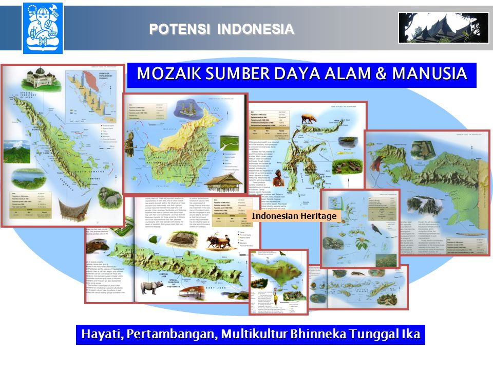 Indonesian Heritage MOZAIK SUMBER DAYA ALAM & MANUSIA POTENSI INDONESIA POTENSI INDONESIA Hayati, Pertambangan, Multikultur Bhinneka Tunggal Ika