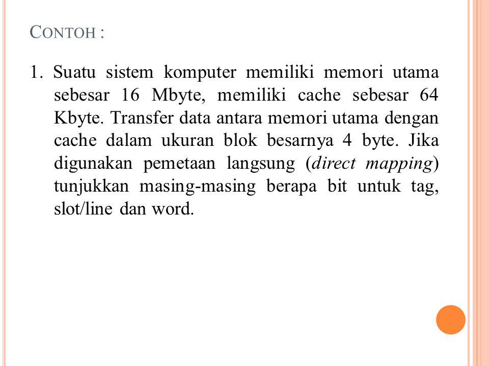 C ONTOH : 1. Suatu sistem komputer memiliki memori utama sebesar 16 Mbyte, memiliki cache sebesar 64 Kbyte. Transfer data antara memori utama dengan c