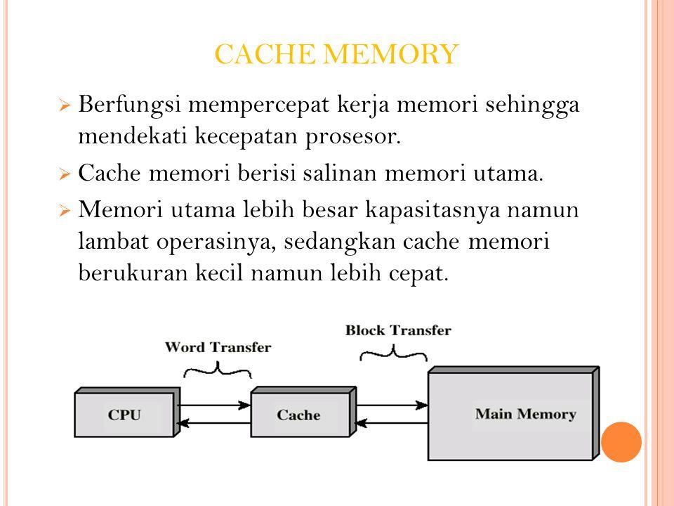 CACHE MEMORY  Berfungsi mempercepat kerja memori sehingga mendekati kecepatan prosesor.  Cache memori berisi salinan memori utama.  Memori utama le