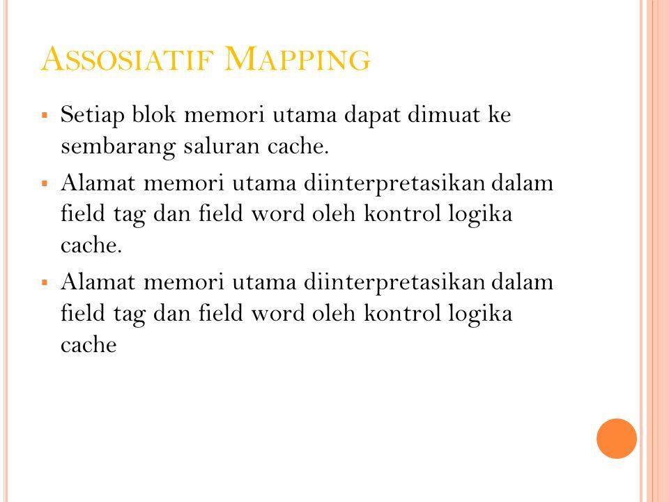 A SSOSIATIF M APPING  Setiap blok memori utama dapat dimuat ke sembarang saluran cache.  Alamat memori utama diinterpretasikan dalam field tag dan f