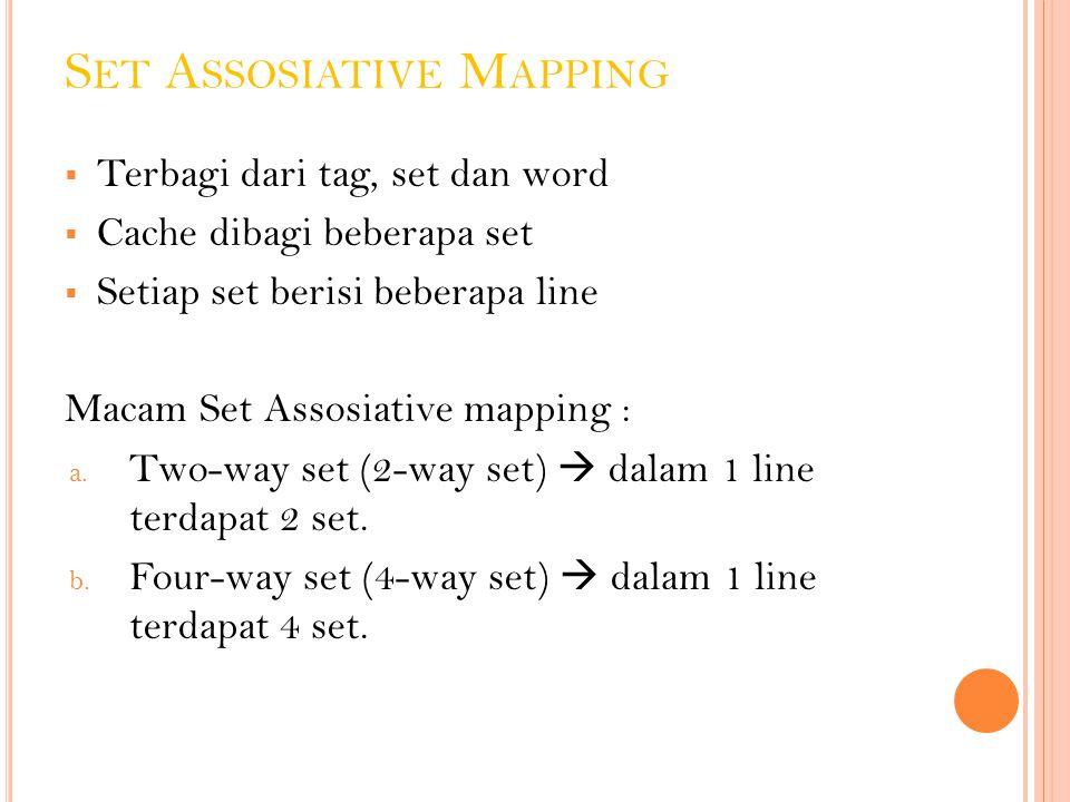 S ET A SSOSIATIVE M APPING  Terbagi dari tag, set dan word  Cache dibagi beberapa set  Setiap set berisi beberapa line Macam Set Assosiative mappin