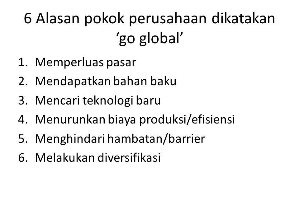 6 Alasan pokok perusahaan dikatakan 'go global' 1.Memperluas pasar 2.Mendapatkan bahan baku 3.Mencari teknologi baru 4.Menurunkan biaya produksi/efisi