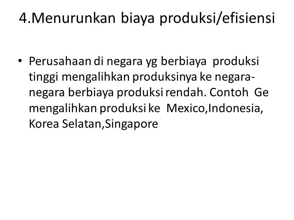 4.Menurunkan biaya produksi/efisiensi Perusahaan di negara yg berbiaya produksi tinggi mengalihkan produksinya ke negara- negara berbiaya produksi ren