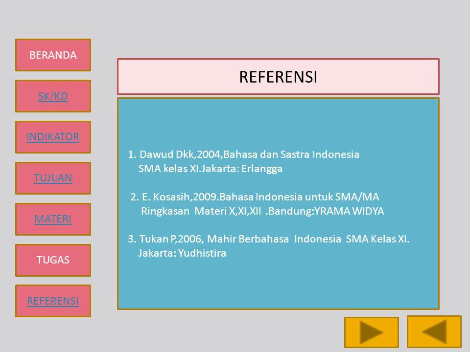 BERANDA SK/KD INDIKATOR TUJUAN MATERI TUGAS REFERENSI 1. Dawud Dkk,2004,Bahasa dan Sastra Indonesia SMA kelas XI.Jakarta: Erlangga 2. E. Kosasih,2009.