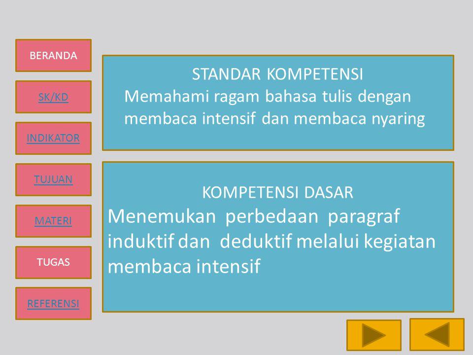 BERANDA SK/KD INDIKATOR TUJUAN MATERI TUGAS REFERENSI STANDAR KOMPETENSI Memahami ragam bahasa tulis dengan membaca intensif dan membaca nyaring KOMPE