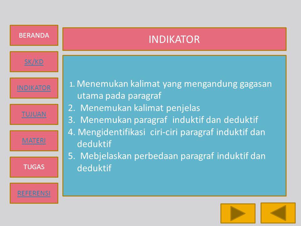 BERANDA SK/KD INDIKATOR TUJUAN MATERI TUGAS REFERENSI TUGAS 1.Jelaskan yang dimaksud dengan paragraf 2.Tuliskan syarat-syarat pembentukan paragraf 3 yang dimaksud dengan gagasan utama dan gagasan penjelas 4.Tuliskan yang dimaksud dengan paragraf deduktif dan induktif 5.