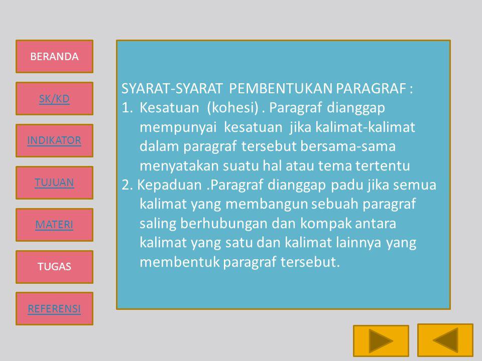 BERANDA SK/KD INDIKATOR TUJUAN MATERI TUGAS REFERENSI PARAGRAF DEDUKTIF DAN PARAGRAF INDUKTIF 1.