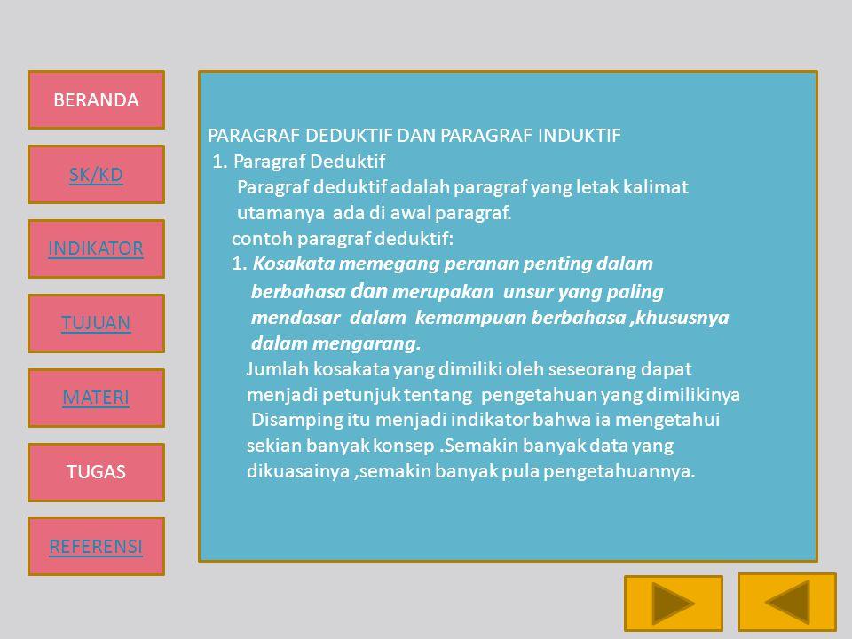 BERANDA SK/KD INDIKATOR TUJUAN MATERI TUGAS REFERENSI PARAGRAF DEDUKTIF DAN PARAGRAF INDUKTIF 1. Paragraf Deduktif Paragraf deduktif adalah paragraf y