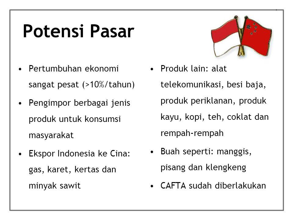 Potensi Pasar Pertumbuhan ekonomi sangat pesat (>10%/tahun) Pengimpor berbagai jenis produk untuk konsumsi masyarakat Ekspor Indonesia ke Cina: gas, karet, kertas dan minyak sawit Produk lain: alat telekomunikasi, besi baja, produk periklanan, produk kayu, kopi, teh, coklat dan rempah-rempah Buah seperti: manggis, pisang dan klengkeng CAFTA sudah diberlakukan