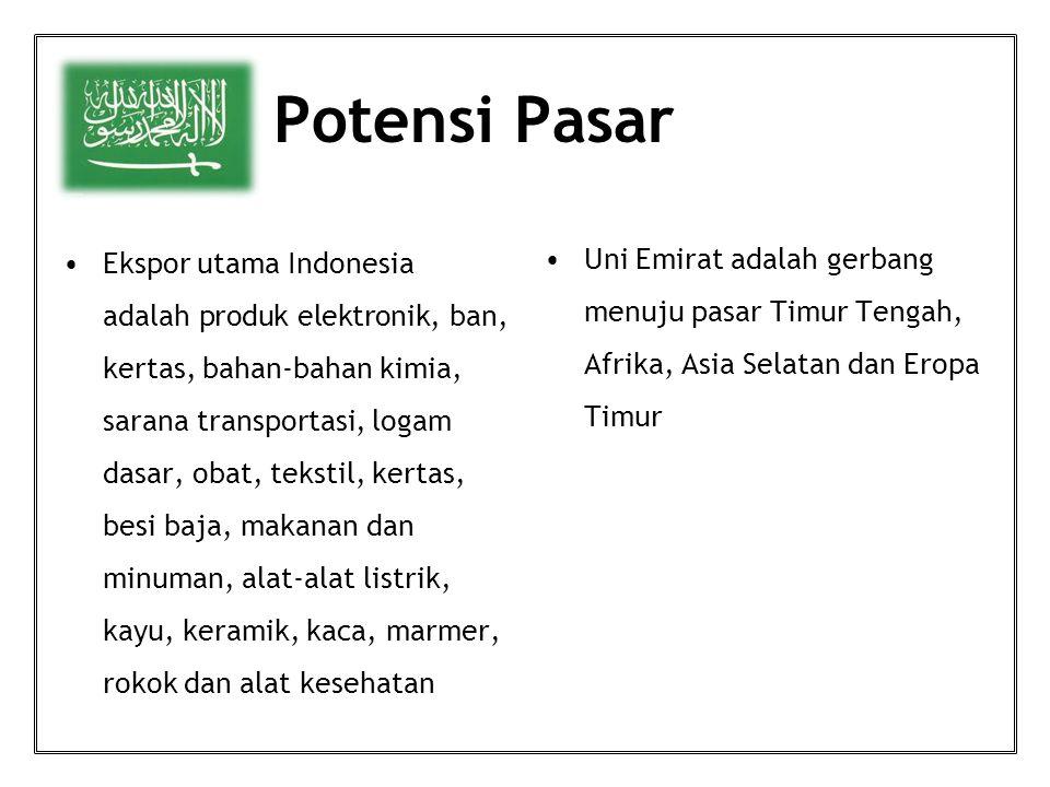 Potensi Pasar Ekspor utama Indonesia adalah produk elektronik, ban, kertas, bahan-bahan kimia, sarana transportasi, logam dasar, obat, tekstil, kertas, besi baja, makanan dan minuman, alat-alat listrik, kayu, keramik, kaca, marmer, rokok dan alat kesehatan Uni Emirat adalah gerbang menuju pasar Timur Tengah, Afrika, Asia Selatan dan Eropa Timur