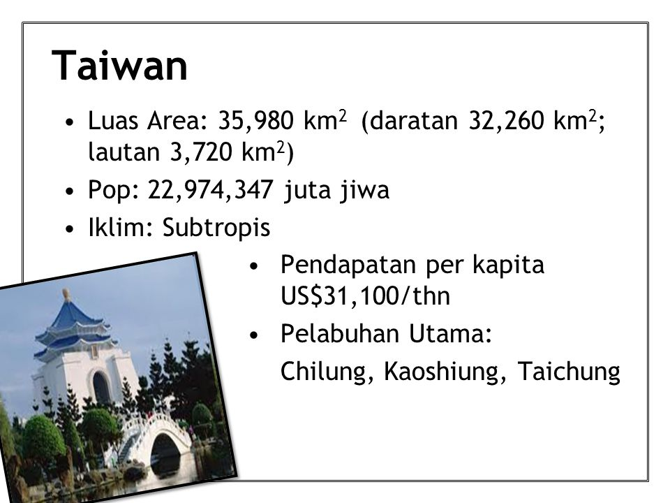 Taiwan Luas Area: 35,980 km 2 (daratan 32,260 km 2 ; lautan 3,720 km 2 ) Pop: 22,974,347 juta jiwa Iklim: Subtropis Pendapatan per kapita US$31,100/thn Pelabuhan Utama: Chilung, Kaoshiung, Taichung