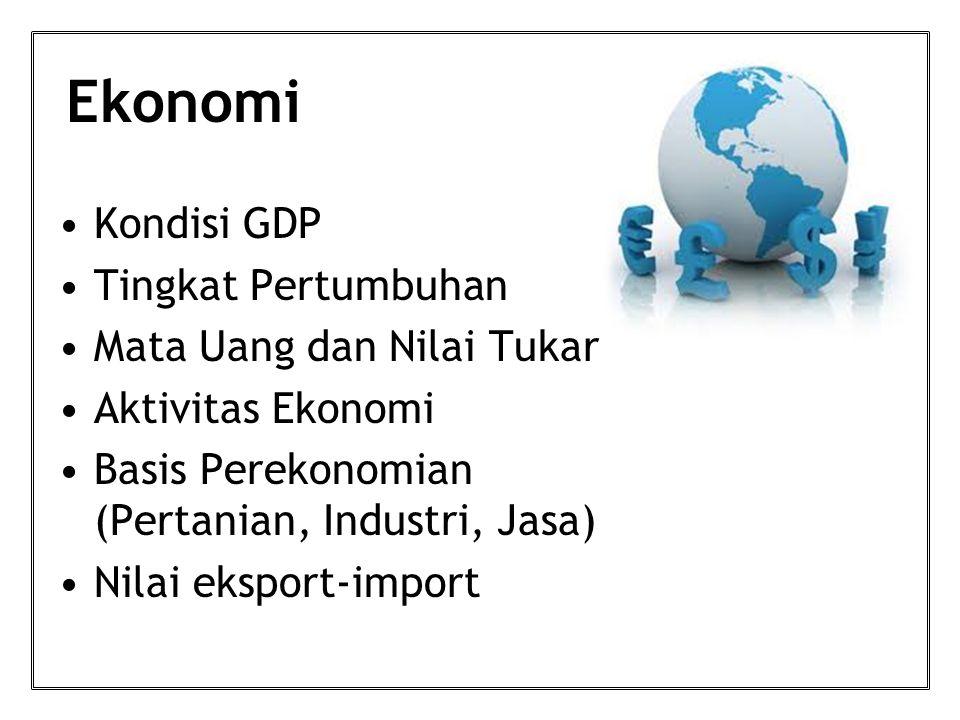 Ekonomi Kondisi GDP Tingkat Pertumbuhan Mata Uang dan Nilai Tukar Aktivitas Ekonomi Basis Perekonomian (Pertanian, Industri, Jasa) Nilai eksport-import