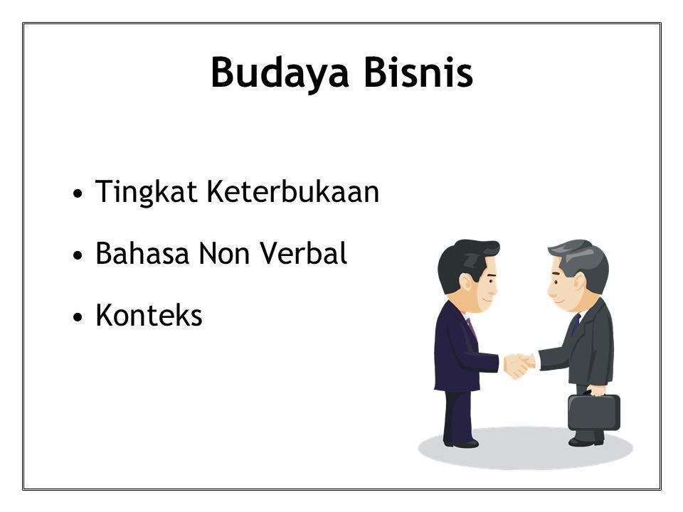 Budaya Bisnis Tingkat Keterbukaan Bahasa Non Verbal Konteks