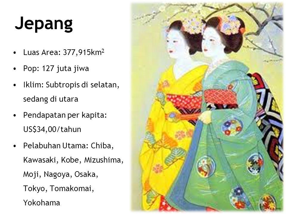 Jepang Luas Area: 377,915km 2 Pop: 127 juta jiwa Iklim: Subtropis di selatan, sedang di utara Pendapatan per kapita: US$34,00/tahun Pelabuhan Utama: Chiba, Kawasaki, Kobe, Mizushima, Moji, Nagoya, Osaka, Tokyo, Tomakomai, Yokohama