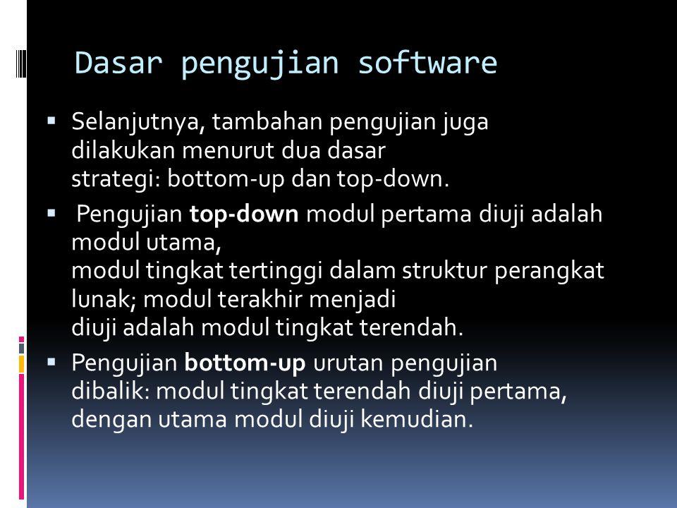 Dasar pengujian software  Selanjutnya, tambahan pengujian juga dilakukan menurut dua dasar strategi: bottom-up dan top-down.  Pengujian top-down mod