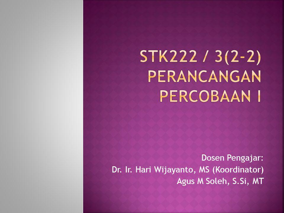 Dosen Pengajar: Dr. Ir. Hari Wijayanto, MS (Koordinator) Agus M Soleh, S.Si, MT