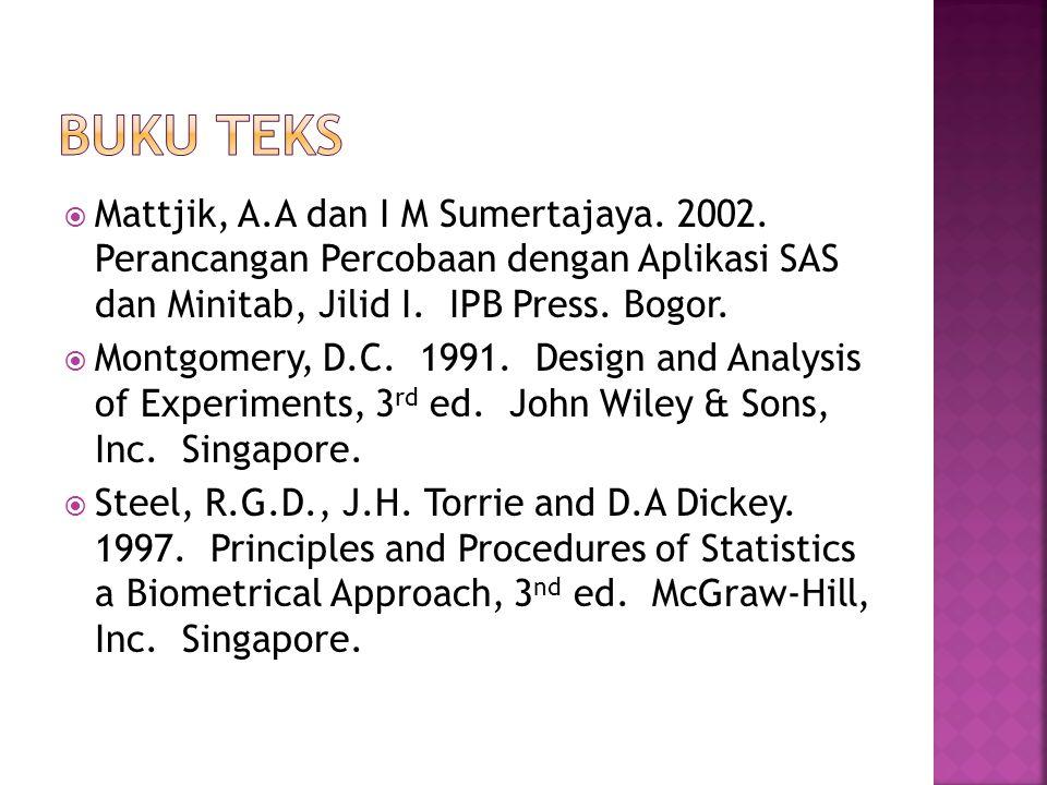 Mattjik, A.A dan I M Sumertajaya. 2002. Perancangan Percobaan dengan Aplikasi SAS dan Minitab, Jilid I. IPB Press. Bogor.  Montgomery, D.C. 1991. D