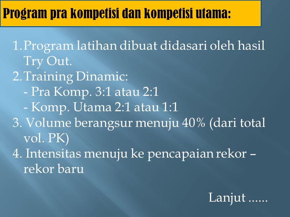 Program pra kompetisi dan kompetisi utama: 5.