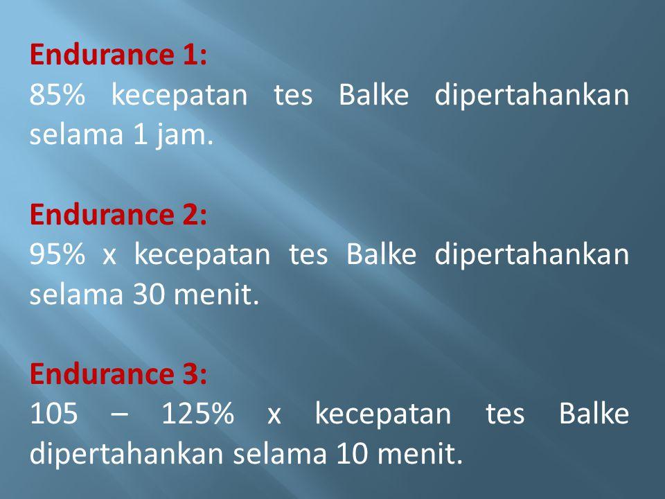 Endurance 1: 85% kecepatan tes Balke dipertahankan selama 1 jam. Endurance 2: 95% x kecepatan tes Balke dipertahankan selama 30 menit. Endurance 3: 10