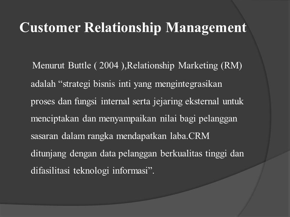 Customer Relationship Management Fokus utama konsep RM dan CRM adalah : 1.