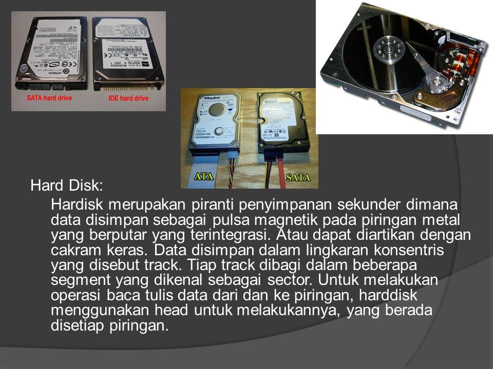 Hard Disk: Hardisk merupakan piranti penyimpanan sekunder dimana data disimpan sebagai pulsa magnetik pada piringan metal yang berputar yang terintegr