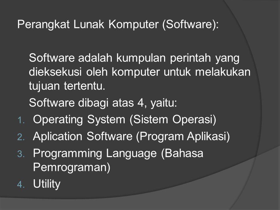 Perangkat Lunak Komputer (Software): Software adalah kumpulan perintah yang dieksekusi oleh komputer untuk melakukan tujuan tertentu. Software dibagi