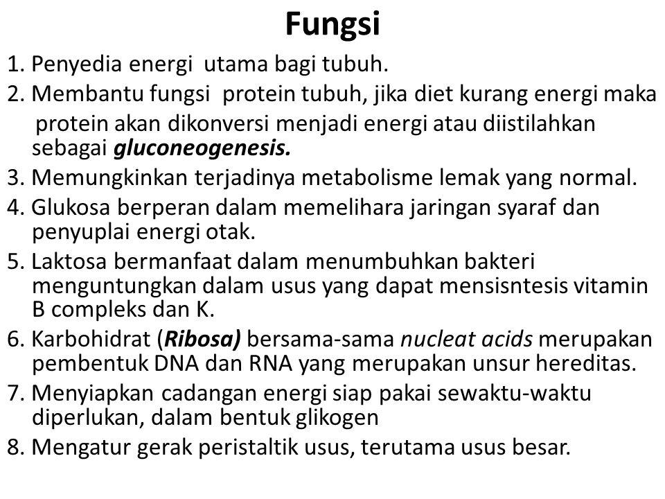 Fungsi 1. Penyedia energi utama bagi tubuh. 2. Membantu fungsi protein tubuh, jika diet kurang energi maka protein akan dikonversi menjadi energi atau