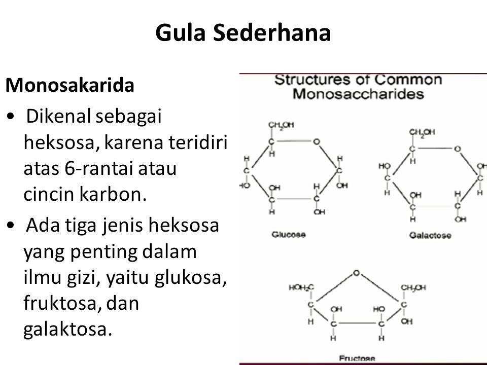 Gula Sederhana Monosakarida Dikenal sebagai heksosa, karena teridiri atas 6-rantai atau cincin karbon. Ada tiga jenis heksosa yang penting dalam ilmu
