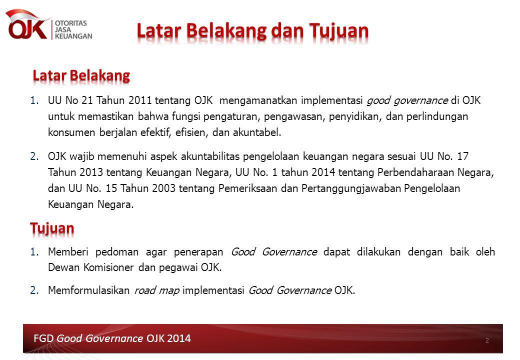 1.UU No 21 Tahun 2011 tentang OJK mengamanatkan implementasi good governance di OJK untuk memastikan bahwa fungsi pengaturan, pengawasan, penyidikan,
