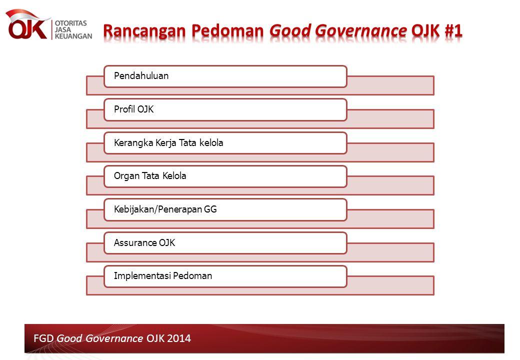 6 PendahuluanProfil OJKKerangka Kerja Tata kelolaOrgan Tata KelolaKebijakan/Penerapan GGAssurance OJKImplementasi Pedoman FGD Good Governance OJK 2014