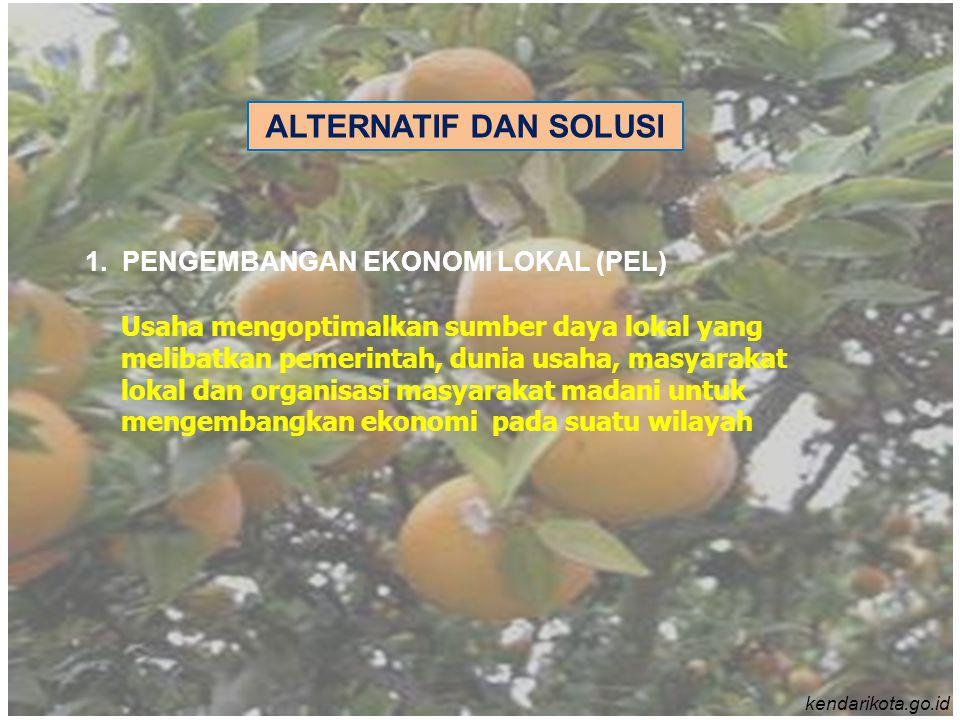 1. PENGEMBANGAN EKONOMI LOKAL (PEL) Usaha mengoptimalkan sumber daya lokal yang melibatkan pemerintah, dunia usaha, masyarakat lokal dan organisasi ma