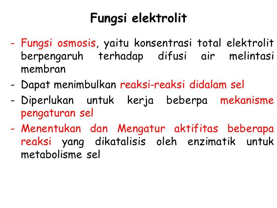 Fungsi elektrolit -Fungsi osmosis, yaitu konsentrasi total elektrolit berpengaruh terhadap difusi air melintasi membran -Dapat menimbulkan reaksi-reak