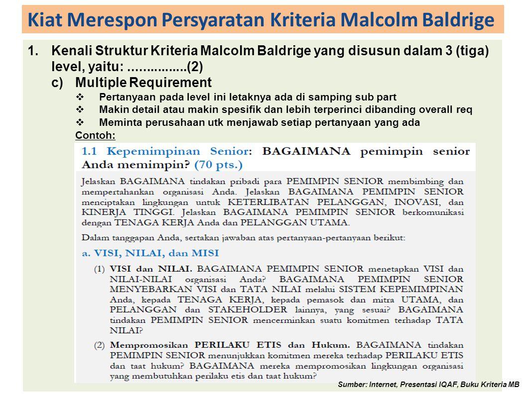 Kiat Merespon Persyaratan Kriteria Malcolm Baldrige 1.Kenali Struktur Kriteria Malcolm Baldrige yang disusun dalam 3 (tiga) level, yaitu:................(3) 1.Kepemimpinan.....................................................adalah[kategori] 1.1Kepemimpinan Senior..................................adalah[item kategori] a.Visi, Tata Nilai, dan Misi.........................adalah[area to address] (1)Visi dan Tata Nilai.............................adalah[sub part] Sumber: Internet, Presentasi IQAF, Buku Kriteria MB