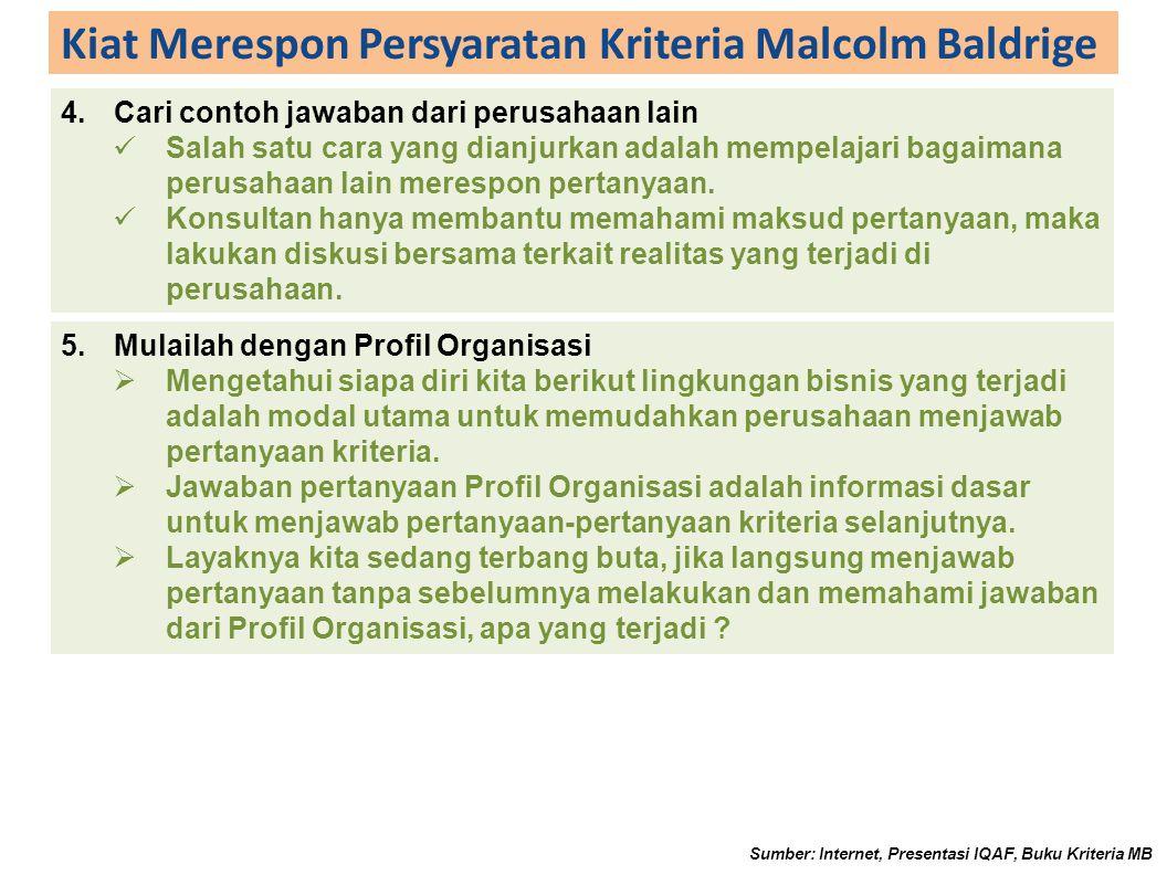 Kiat Merespon Persyaratan Kriteria Malcolm Baldrige 4.Cari contoh jawaban dari perusahaan lain Salah satu cara yang dianjurkan adalah mempelajari bagaimana perusahaan lain merespon pertanyaan.