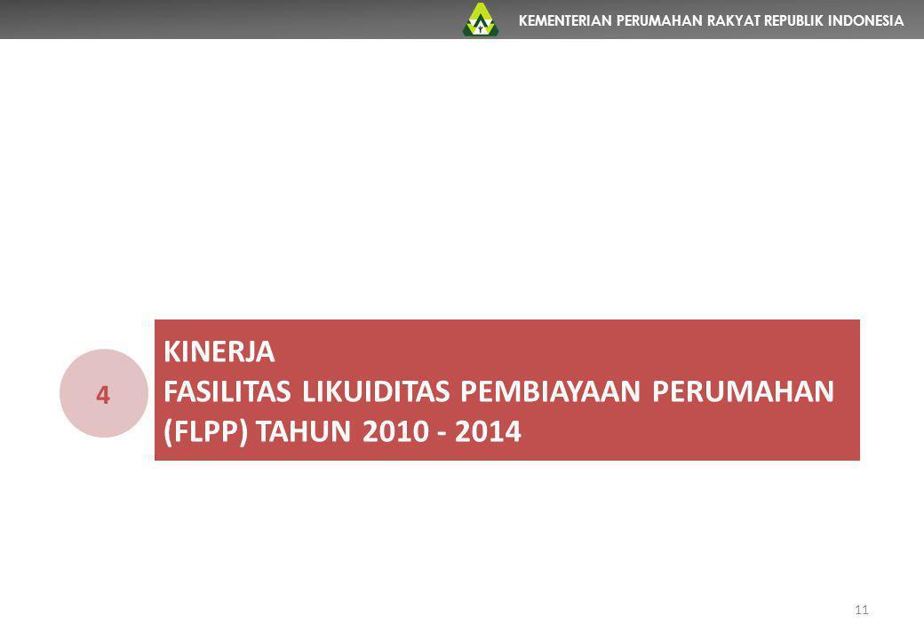 KEMENTERIAN PERUMAHAN RAKYAT REPUBLIK INDONESIA KINERJA FASILITAS LIKUIDITAS PEMBIAYAAN PERUMAHAN (FLPP) TAHUN 2010 - 2014 4 11