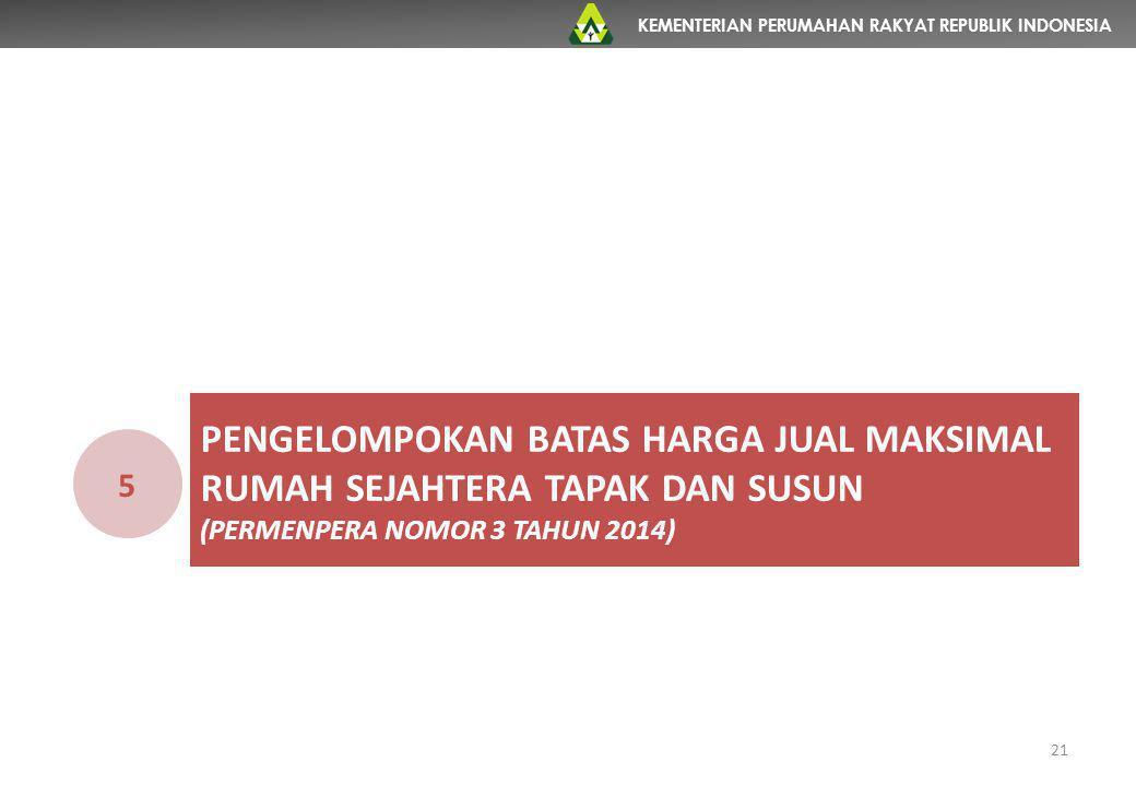 KEMENTERIAN PERUMAHAN RAKYAT REPUBLIK INDONESIA 21 PENGELOMPOKAN BATAS HARGA JUAL MAKSIMAL RUMAH SEJAHTERA TAPAK DAN SUSUN (PERMENPERA NOMOR 3 TAHUN 2
