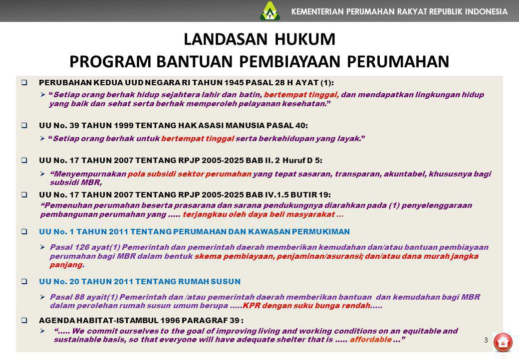 KEMENTERIAN PERUMAHAN RAKYAT REPUBLIK INDONESIA NO BANK PELAKSANA UNIT% 1 BTN279.11390,1% 2 BTN SYARIAH17.5415,7% 3 BRI SYARIAH3.9431,3% 4 BNI2.8300,9% 5 MANDIRI2.4790,8% 6 Lainnya3.9941,3% TOTAL 309.900 KINERJA KPR FLPP TAHUN 2010-2014 DISTRIBUSI UNIT KPR TERBANYAK DI-5 BANK PELAKSANA TERBESAR 14