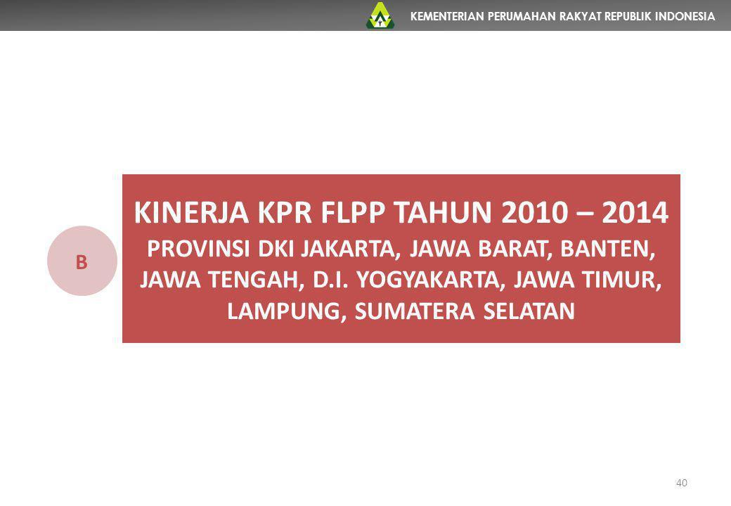 KEMENTERIAN PERUMAHAN RAKYAT REPUBLIK INDONESIA 40 KINERJA KPR FLPP TAHUN 2010 – 2014 PROVINSI DKI JAKARTA, JAWA BARAT, BANTEN, JAWA TENGAH, D.I. YOGY